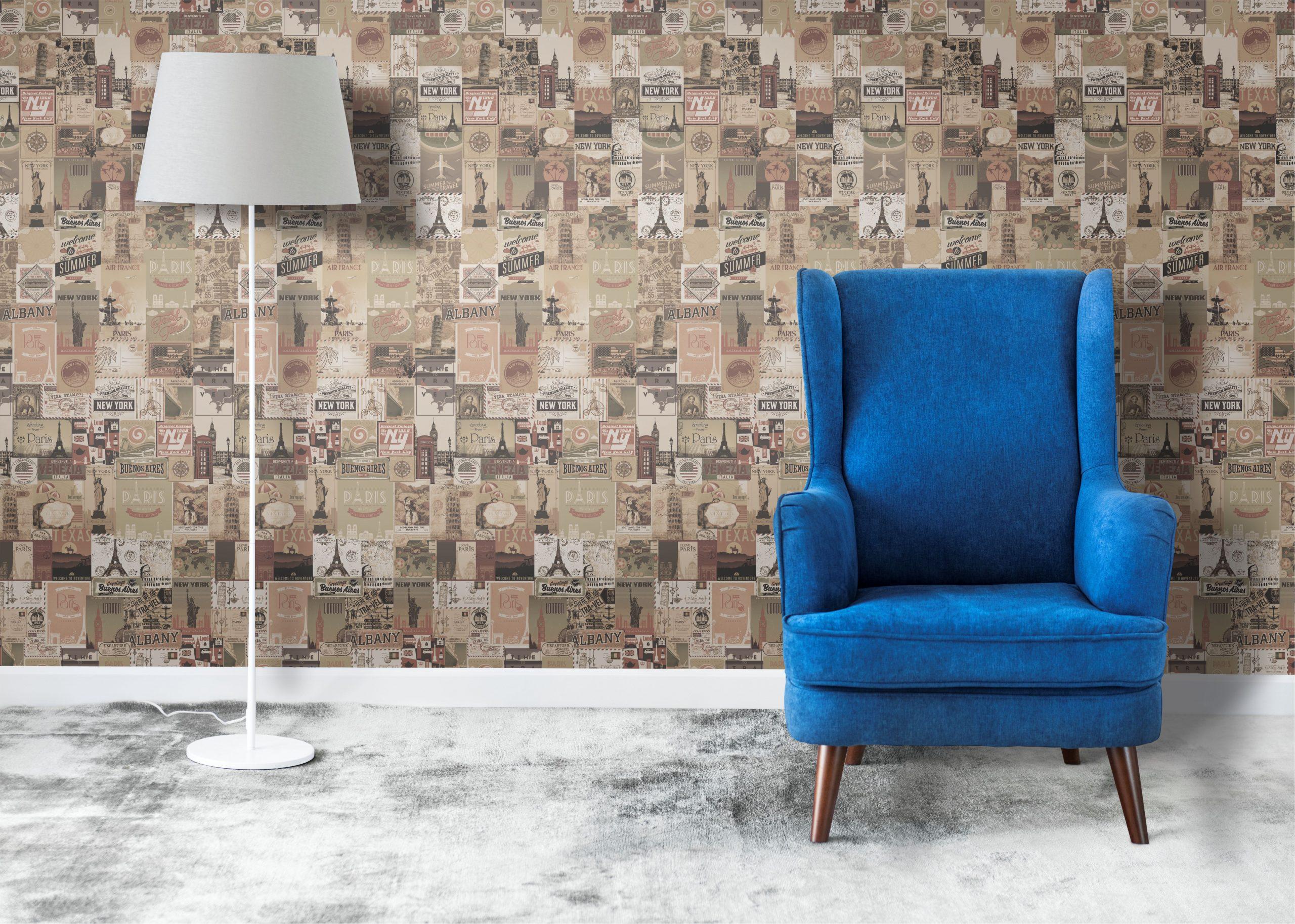 Combinações com o papel de parede vintage e retrô para você testar